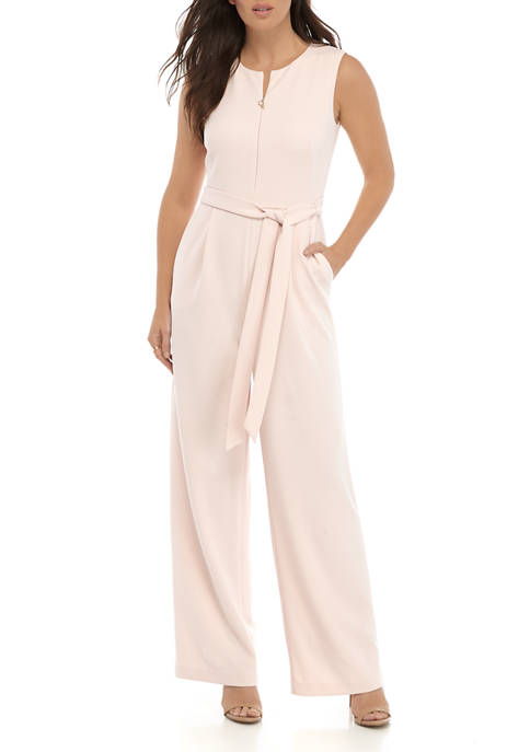 Calvin Klein Womens Sleeveless Front Tie Jumpsuit