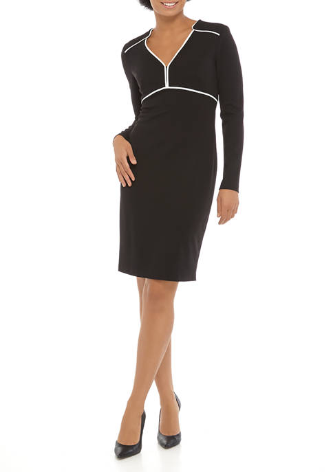 Calvin Klein Womens Long Sleeve Scuba Crepe Dress