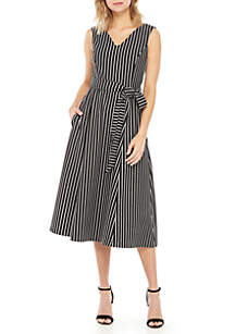 Calvin Klein Sleeveless Stripe Dress with Tie Waist
