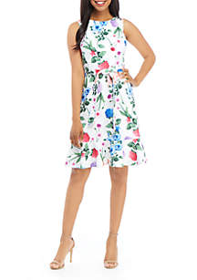 Calvin Klein Sleeveless Belted Scuba Dress