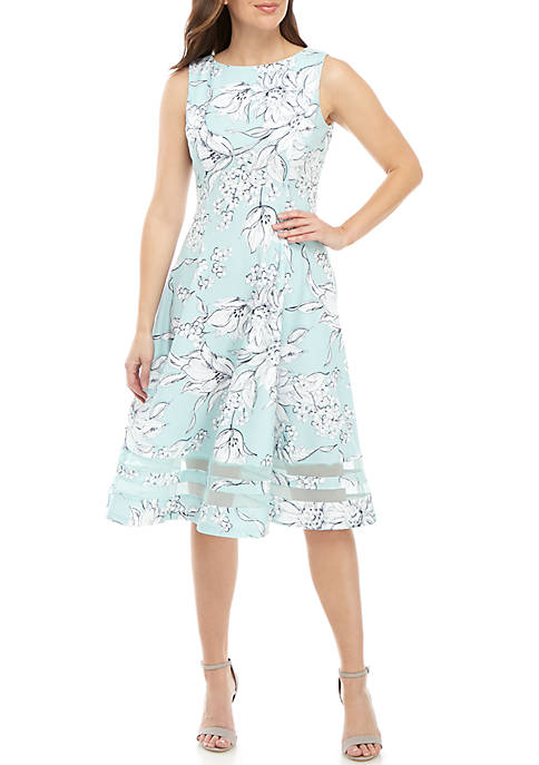 Calvin Klein Sleeveless A-Line Floral Dress