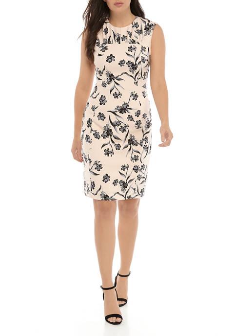 Calvin Klein Womens Sleeveless Printed Scuba Shift Dress