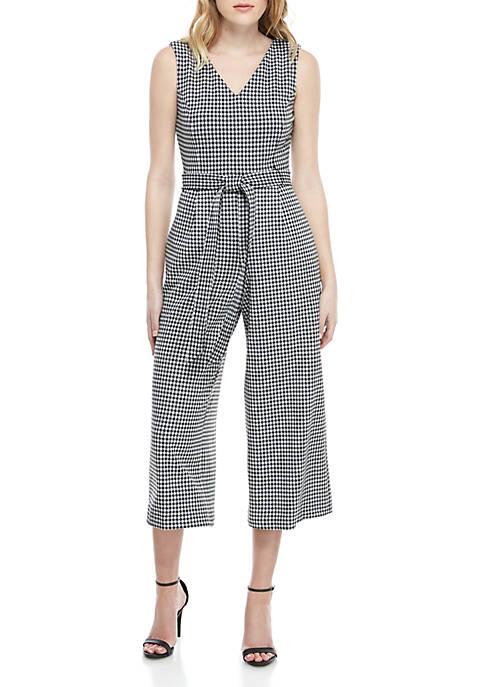 Calvin Klein Sleeveless Gingham Print Jumpsuit