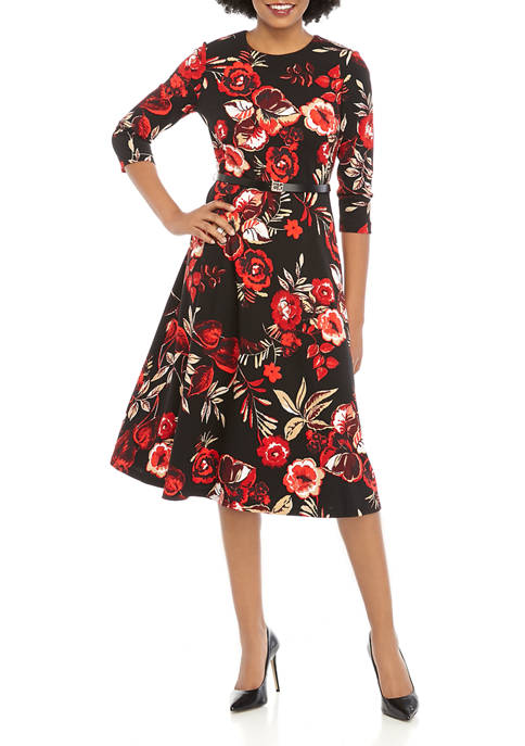 Calvin Klein Womens Belted Floral Print Midi Dress