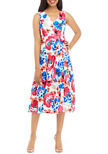 Calvin Klein Sleeveless Printed Scuba Dress with Belt
