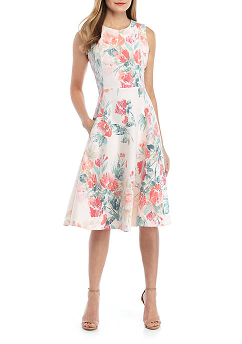 Calvin Klein Sleeveless Fit and Flare Floral Dress