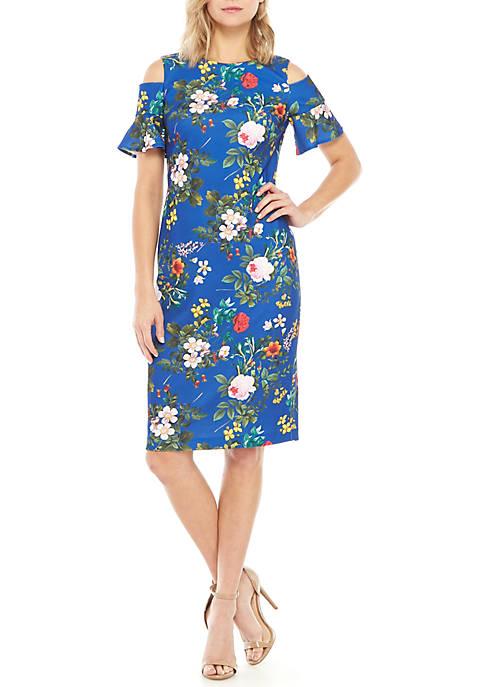 Calvin Klein Short Cold Shoulder Sleeve Floral Sheath