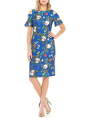 c137eb07 Calvin Klein. Calvin Klein Short Cold Shoulder Sleeve Floral Sheath Dress