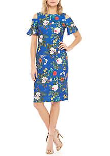 Calvin Klein Short Cold Shoulder Sleeve Floral Sheath Dress