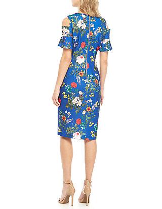 dd0943da Calvin Klein Short Cold Shoulder Sleeve Floral Sheath Dress | belk