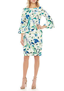 Calvin Klein 3/4 Bell Sleeve Floral Sheath Dress