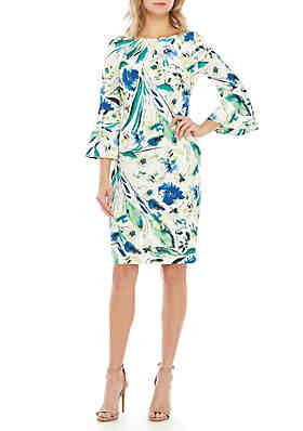 d4c7cbfc9fdc Calvin Klein 3/4 Bell Sleeve Floral Sheath Dress ...