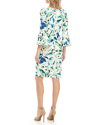 76466294f1baaf Calvin Klein 3/4 Bell Sleeve Floral Sheath Dress | belk