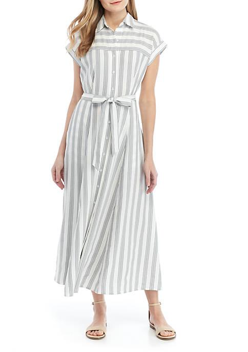 Short Sleeve Stripe Gauze Dress with Belt