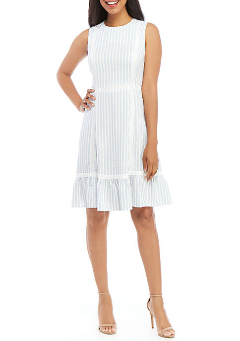 Calvin Klein Sleeveless Novelty Stripe Ruffle Hem Dress