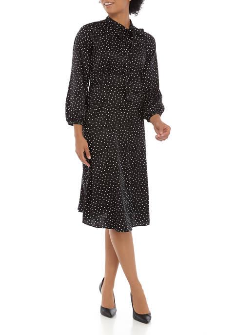 Calvin Klein Womens 3/4 Sleeve Novelty Dot Midi