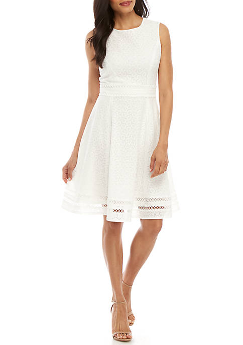 Calvin Klein Sleeveless Eyelet Cotton Fit and Flare