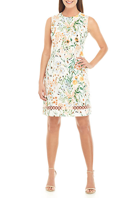 Calvin Klein Sleeveless Floral Cotton Fit And Flare