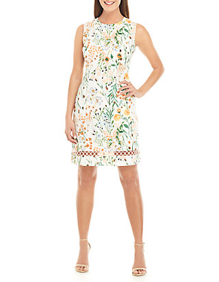 d458e44f Calvin Klein. Calvin Klein Sleeveless Floral Cotton Fit And Flare Dress