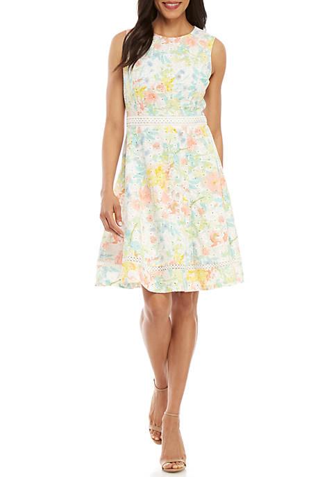 Sleeveless Floral Eyelet Cotton Dress