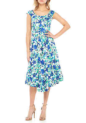 5cdc48c997 Calvin Klein Floral Fit and Flare Dress ...