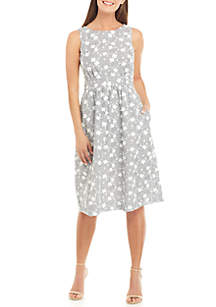 Calvin Klein Sleeveless Floral and Stripe Fit and Flare Dress