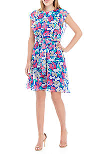 Calvin Klein Short Sleeve Printed Chiffon Dress with Belt