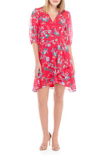 Calvin Klein Sleeveless Printed Chiffon A Line Dress