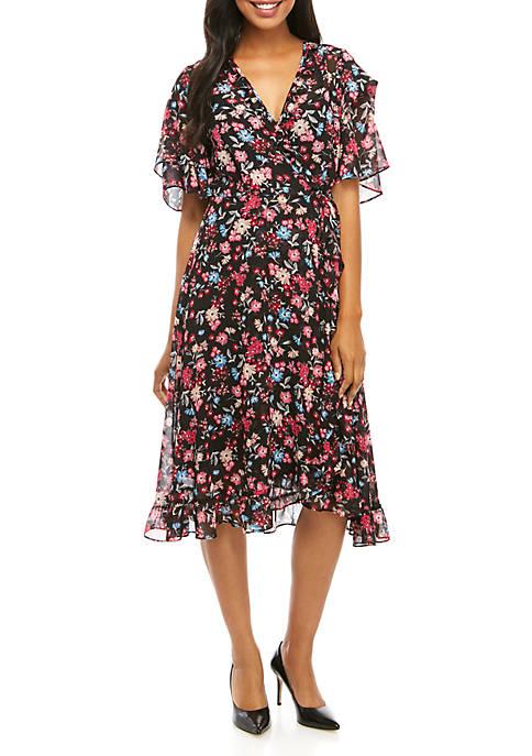 Calvin Klein Short Sleeve Printed Chiffon Dress
