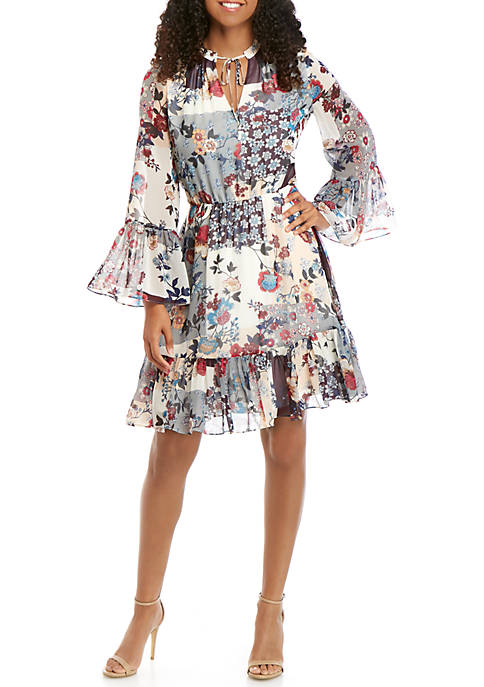 Calvin Klein Long Sleeve Patchwork Chiffon Dress