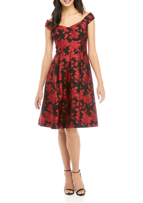 Womens Scoop Neck Brocade Fit and Flare Dress