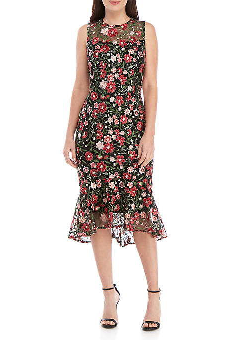 Calvin Klein Sleeveless Embroidered Midi Dress
