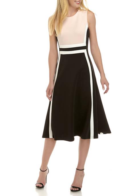 Calvin Klein Womens Color Block Scuba Dress