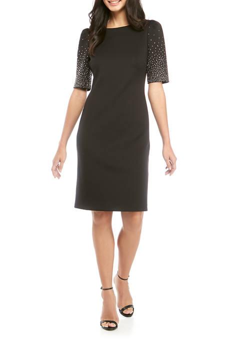 Calvin Klein Womens Sheath Dress with Bead Sleeves