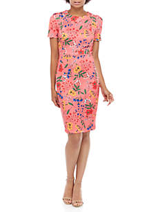 Calvin Klein Short Sleeve Floral Sheath Dress
