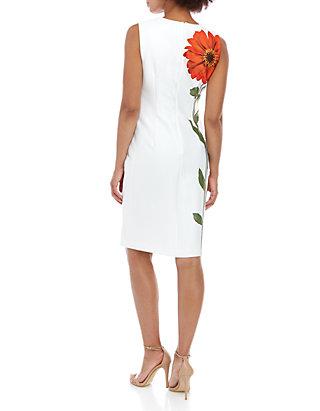5ab40fcd ... Calvin Klein Sleeveless Large Placement Flower Sheath Dress ...
