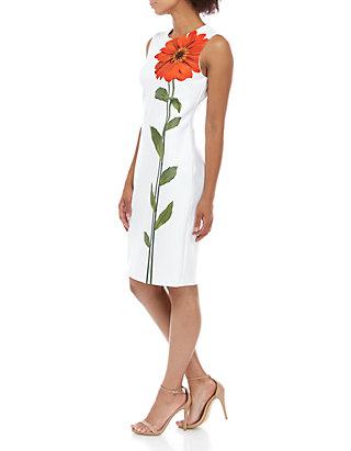 5b6d8b8c Calvin Klein Sleeveless Large Placement Flower Sheath Dress   belk