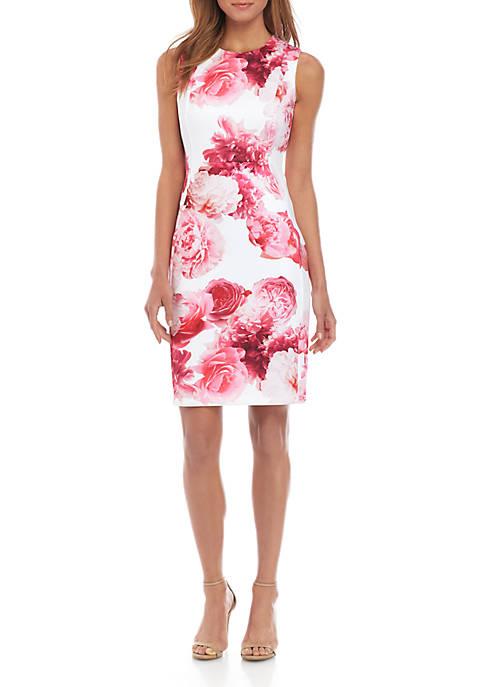Sleeveless Large Floral Sheath Dress