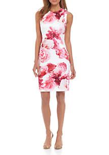 c92a5727 ... Calvin Klein Sleeveless Large Floral Sheath Dress