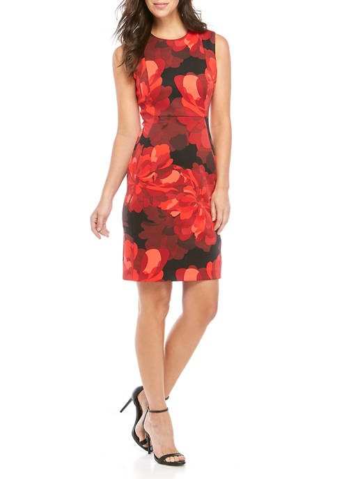Calvin Klein Womens Sleeveless Scuba Print Sheath Dress