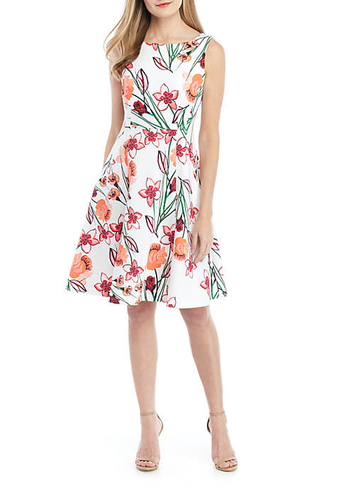 Calvin Klein Sleeveless Scuba A Line Dress