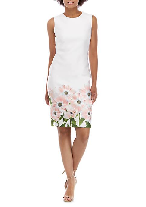 Sleeveless Sheath Dress with Printed Hem