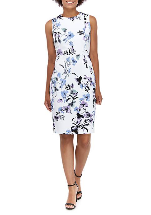 Sleeveless Floral Sheath Dress
