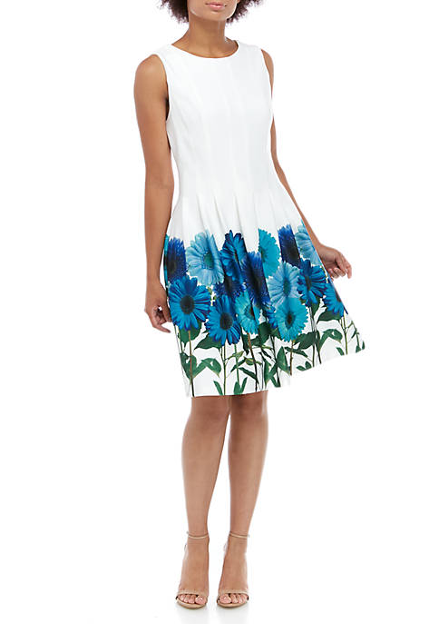 Calvin Klein Sleeveless Floral Hem Fit and Flare