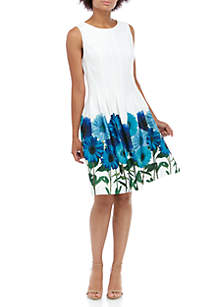 Calvin Klein Sleeveless Floral Hem Fit and Flare Dress
