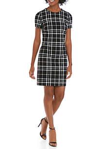 Calvin Klein Short Sleeve Plaid Ponte Dress