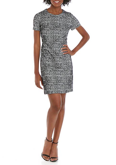 Calvin Klein Short Sleeve Knit A Line Dress