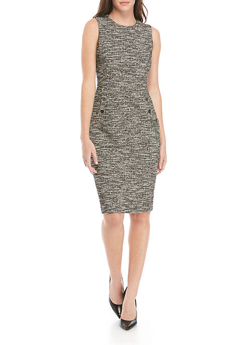 Calvin Klein Womens Sleeveless Button Front Shift Dress