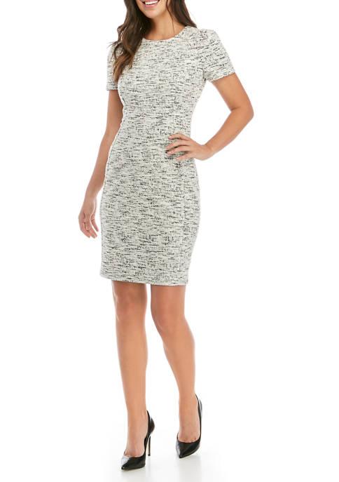 Calvin Klein Womens Short Sleeve Tweed Shift Dress