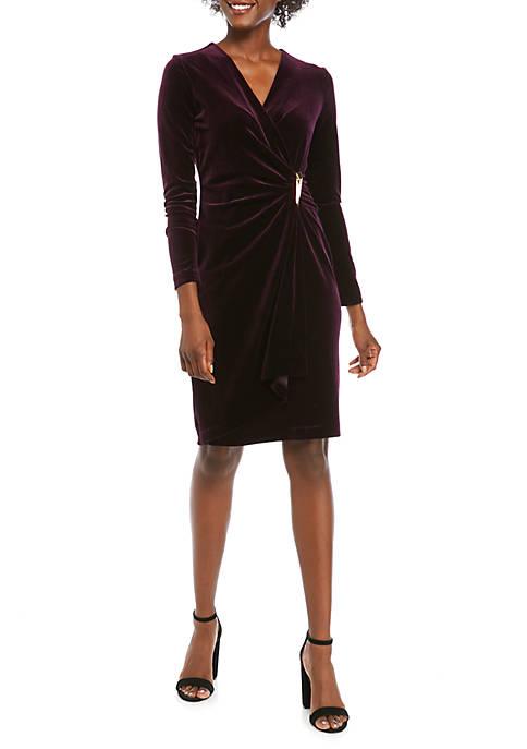 Calvin Klein Womens Long Sleeve Ruched Side Velvet